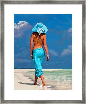 walking on the beach V Framed Print