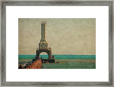 Walking On The Breakwater Framed Print by Mary Machare