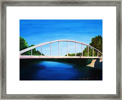 Walking On The Bridge  Framed Print