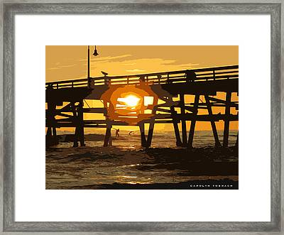 Walking On Water At Sunset Framed Print by Carolyn Toshach