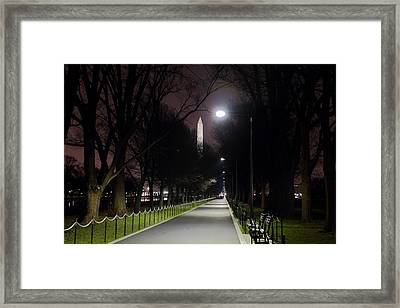Walking Path Along The Reflecting Pool Framed Print