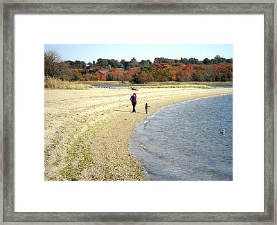 Walking The Beach In October Framed Print by Kate Gallagher