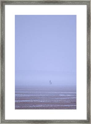 Walking The Dog In The Mist Framed Print