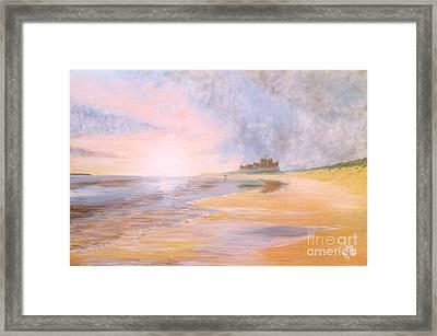 Walking The Dog On Bamburgh Beach Framed Print