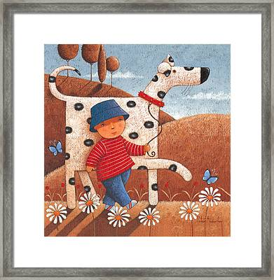 Walking The Dog Framed Print by Peter Adderley