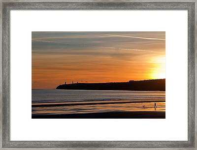 Walking The Dog, The Metal Man Framed Print by Panoramic Images