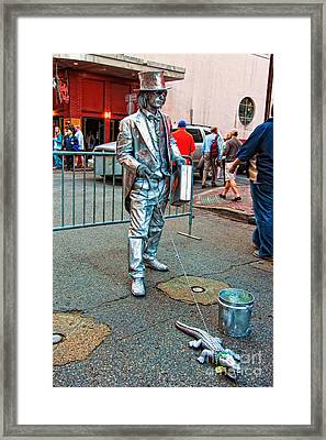 Walking The Gator Bourbon St. Nola Framed Print by Kathleen K Parker