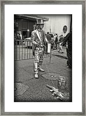 Walking The Gator On Bourbon St. Nola Black And White Framed Print by Kathleen K Parker