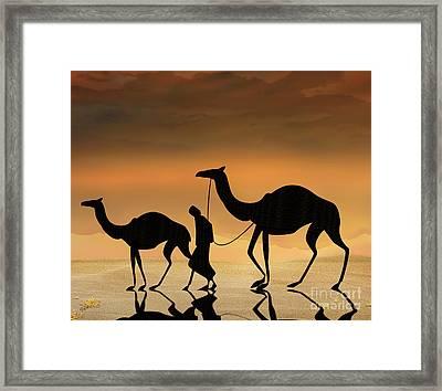 Walking The Sahara Framed Print by Bedros Awak