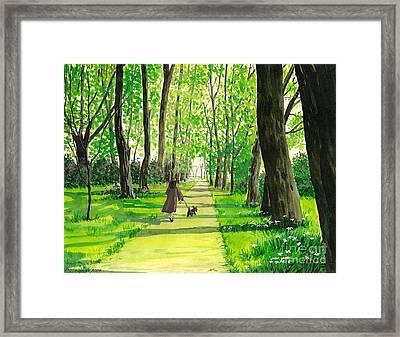 Walking The Scottie Framed Print by Margaryta Yermolayeva