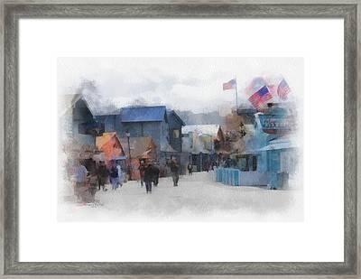 Walking The Wharf Framed Print by Barbara R MacPhail