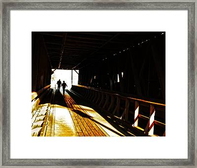 Framed Print featuring the photograph Walking Through History - Elizabethton Tennesse Covered Bridge by Denise Beverly