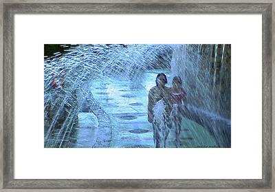 Walking Through The Fountains Framed Print