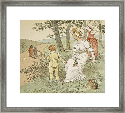 Walking To Mouseys Hall Framed Print by Randolph Caldecott