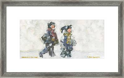 Walking To The Rink Framed Print by David Dossett