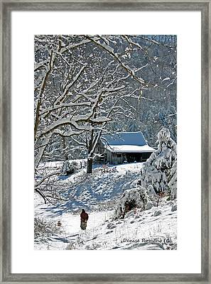 Framed Print featuring the photograph Walking Toward The Barn by Denise Romano