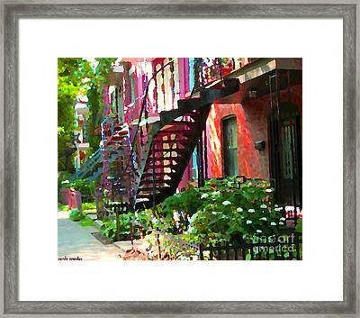Walking Verdun Spiral Staircases Graceful Circular Steps Montreal Colorful Scenes Carole Spandau  Framed Print by Carole Spandau