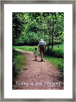 Walking With Grandma Framed Print by Karen Adams