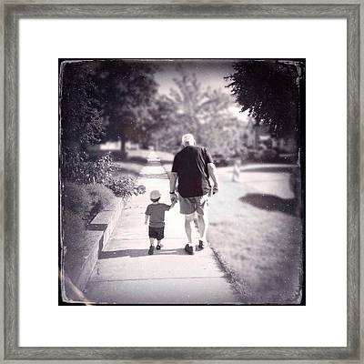 Walking With Grandpa Framed Print by Natasha Marco