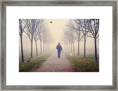 Walking With The Dog Framed Print
