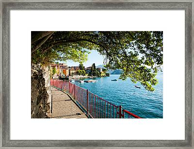 Walkway Along The Shore Of A Lake Framed Print by Panoramic Images