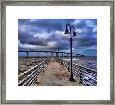 Walkway And Bridge On Gulf Of Mexico Framed Print