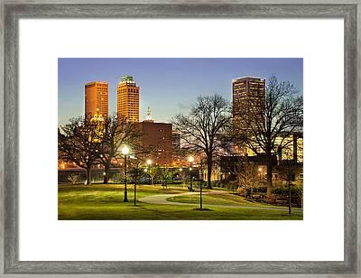 Walkway City View - Tulsa Oklahoma Framed Print by Gregory Ballos