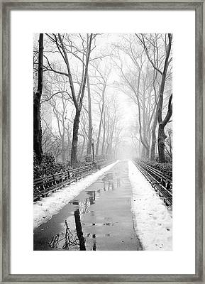 Walkway Snow And Fog Nyc Framed Print
