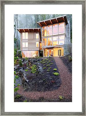 Walkway To Modern House Framed Print by Will Austin