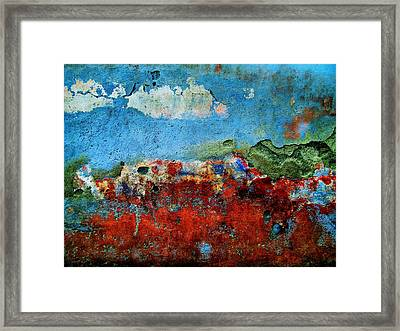 Framed Print featuring the digital art Wall Abstract 14 by Maria Huntley