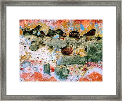 Framed Print featuring the digital art Wall Abstract 15 by Maria Huntley