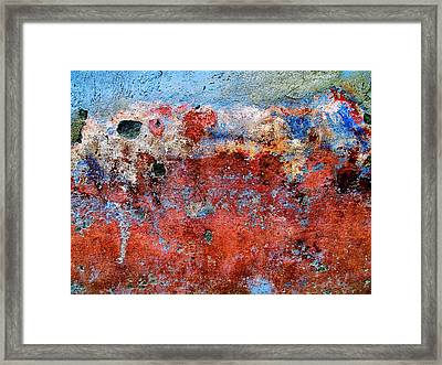 Framed Print featuring the digital art Wall Abstract 17 by Maria Huntley