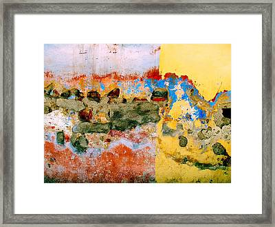 Framed Print featuring the digital art Wall Abstract 7 by Maria Huntley