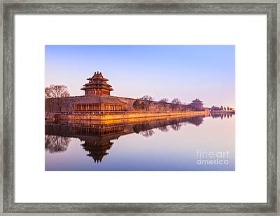 Wall And Moat Forbidden City Beijing Framed Print by Colin and Linda McKie