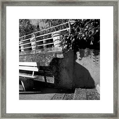 Wall Bench Shadows Stairs Framed Print by Colleen Williams