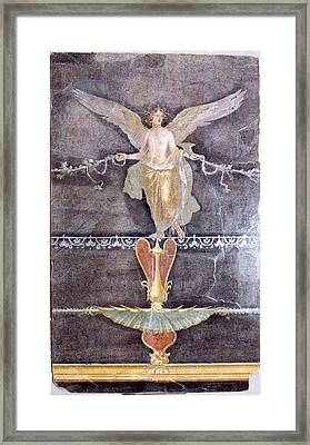 Wall  Fragment With Winged Female Nike On Black Ground Framed Print by Litz Collection
