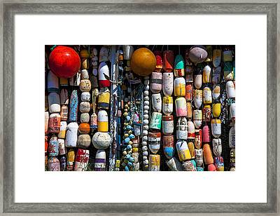 Wall Of Fishing Buoys Framed Print by Garry Gay