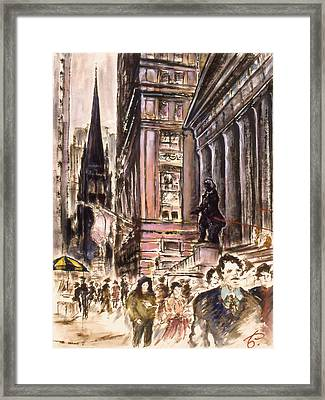 New York Wall Street - Fine Art Painting Framed Print