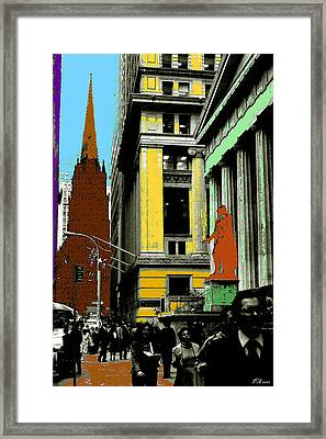 New York Pop Art Blue Green Red Yellow Framed Print