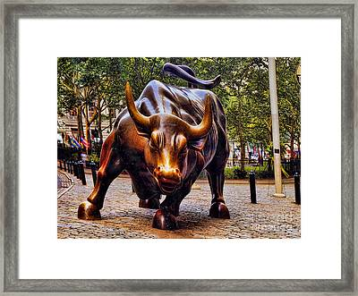 Wall Street Bull Framed Print by David Smith