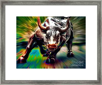 Wall Street Bull Framed Print by Marvin Blaine
