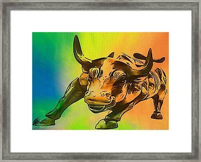 Wall Street Bull Pop Art Framed Print by Dan Sproul