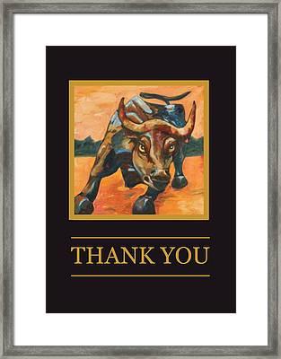 Wall Street Bull Thank You Card Framed Print