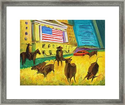 Wall Street Bulls On The Run Painting By Bertram Poole Artist Framed Print by Thomas Bertram POOLE