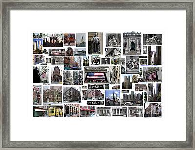 Framed Print featuring the digital art Wall Street Financial District Collage by Steven Spak