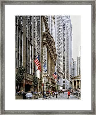 Wall Street In New York City Framed Print