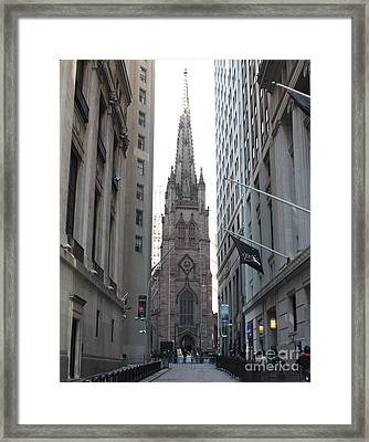 Wall Street Leading To Trinity Church Framed Print by John Telfer