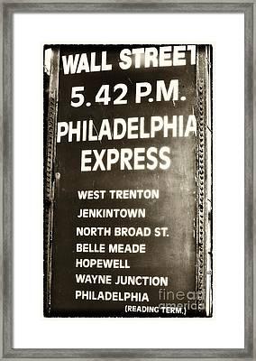 Wall Street Philadelphia Express Framed Print by John Rizzuto