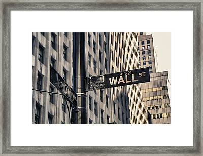 Wall Street Sign Framed Print
