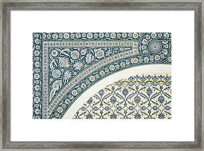 Wall Tiles Of Sibyl D Abd-el Rahman Kyahya From Arab Art As Seen Through The Monuments Of Cairo  Framed Print by Emile Prisse d Avennes